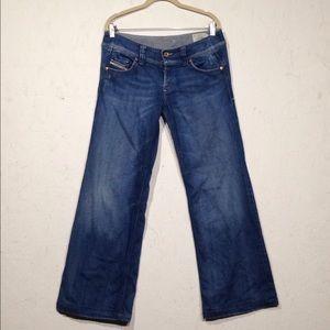 Diesal   Dark Wash Wide Leg Lambry Jeans W30